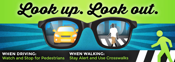 Watch and stop for pedestrians