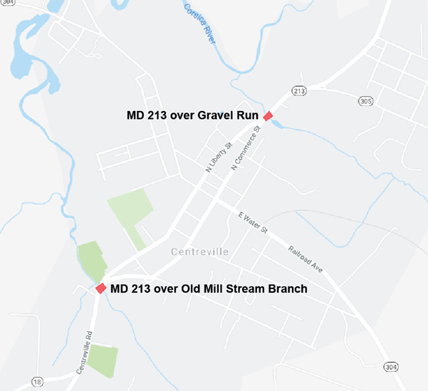 MD 213 Bridge Work in Centreville, Queen Anne's County
