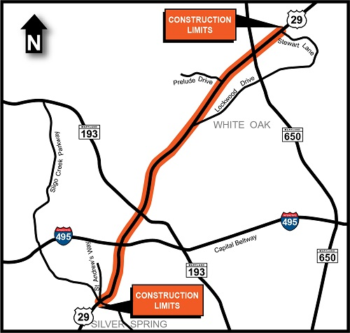 US 29 Colesville Road map