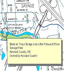 Location map of Bollman Truss Suspension Bridge